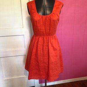 Retro Orange Linen J Crew Dress